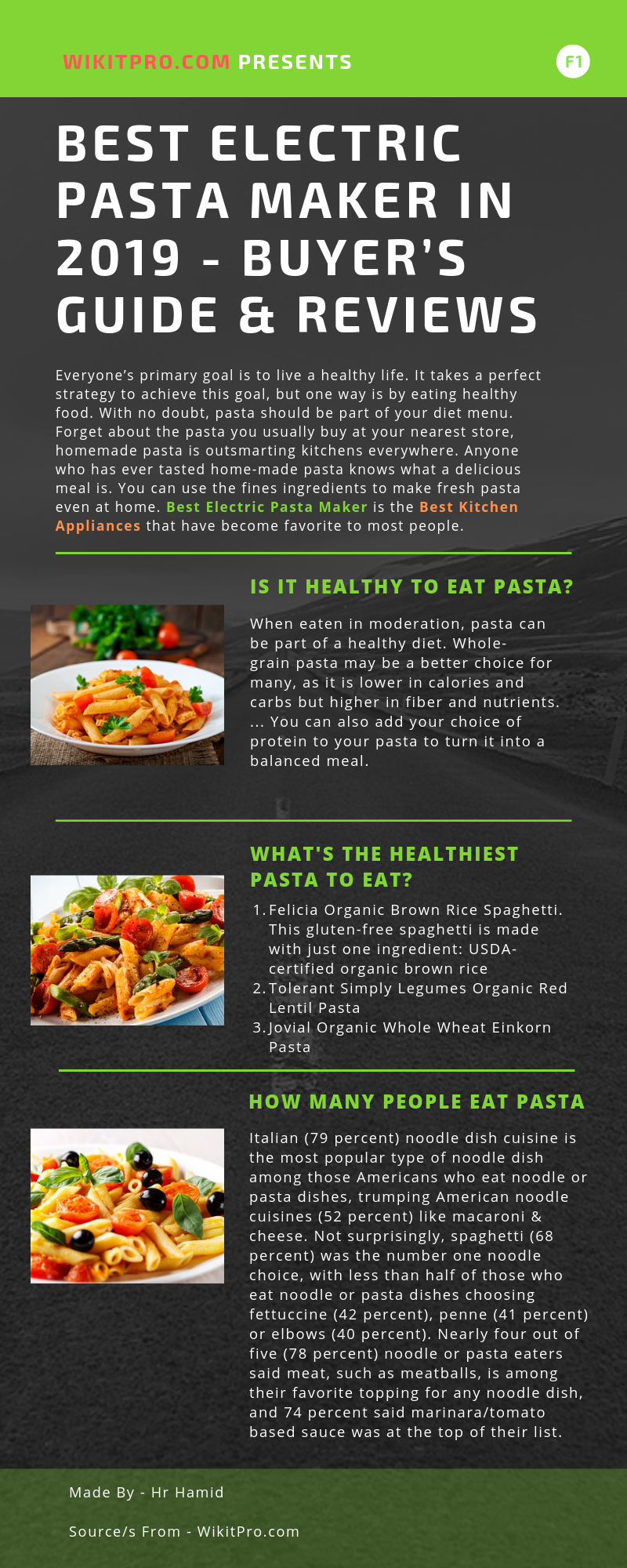 Best Electric Pasta Maker. Infographic
