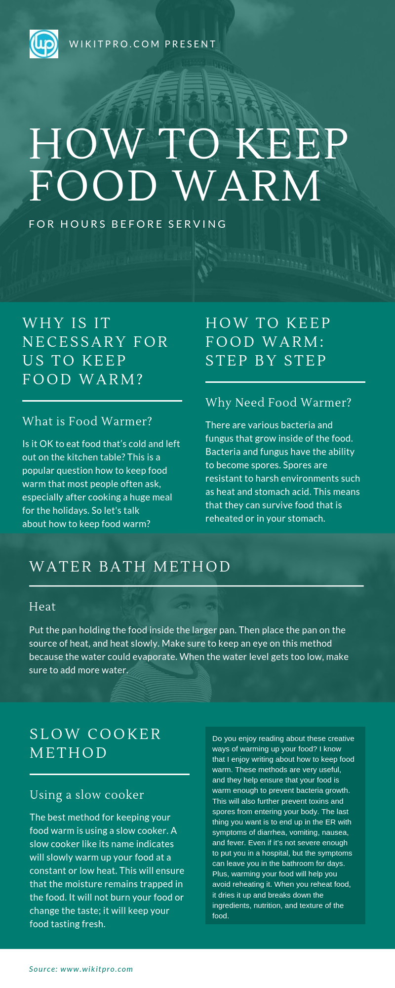 how to keep food warm.Infographic